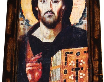 Jesus Christ - Pantocrator Of Sinai - Orthodox Byzantine icon on wood handmade (35cm x 17.2cm)
