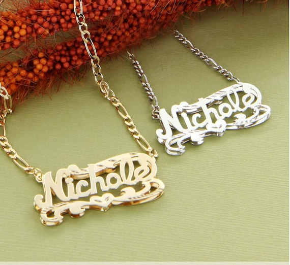 silver diamond cut name necklace by monogrammfg on etsy. Black Bedroom Furniture Sets. Home Design Ideas
