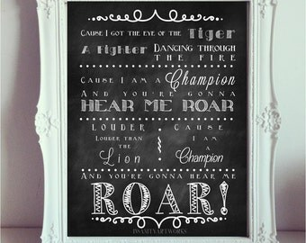 Katy Perry Roar Poster Print Typography Chalk  Wall Art