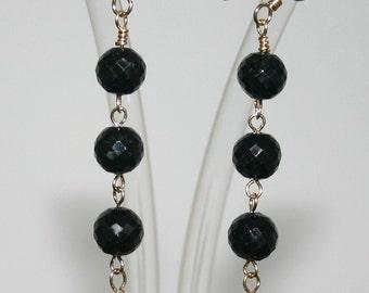 BLACK SPINEL And  CARNELIAN Semiprecious Drop Earrings