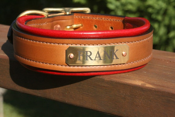Hill Top Leather, custom-made padded collars with engraved nameplate Il_570xN.514287199_aith