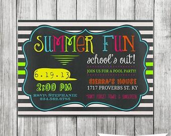 Neon Chalkboard Pool Party Invite - 5x7 JPG Printable