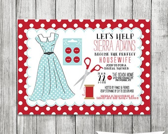Retro Housewife Bridal Shower Invite - 5x7 JPG