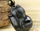Natural AAA Black crystal stone charm good luck Fox pendant