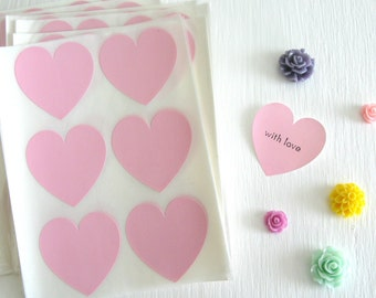 24 Light Pink Heart Stickers Heart Envelope Seals 1.5""