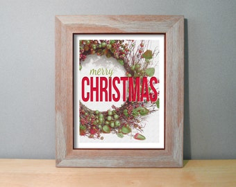 Christmas Gifts Under 20 - Merry Christmas Sign Christmas Decor / Personalized Print Rustic Wreath - Red & Green Holiday Decor 8x10 Wall Art