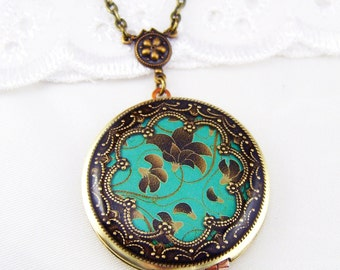 Green Floral Brass Locket, Resin Flower Locket,Green Locket,Holiday Gift For Her.