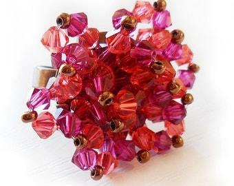 Swarovski Pink and Orange Beads Ring - Swarovski Flower Ring