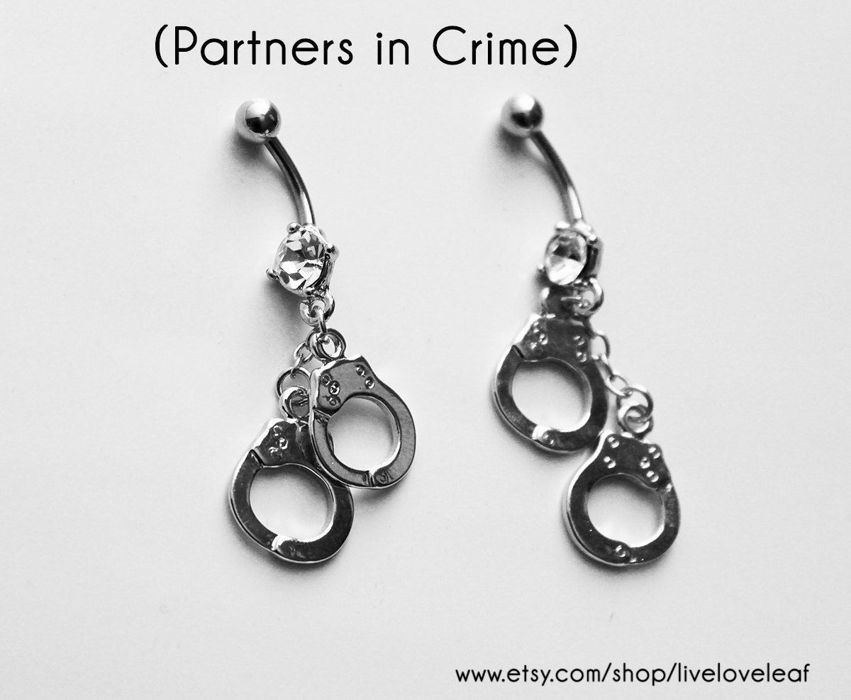silver handcuffs belly button rings with crystal set of two