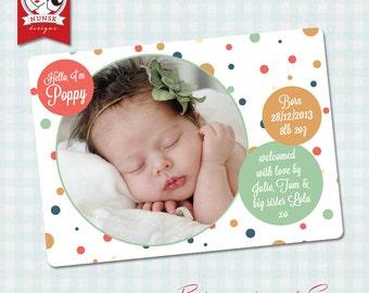 Photo Birth announcement - Polkadot - Custom, Printable