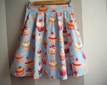 Blue Cupcake Skirt, Summer Cotton Skirt, High Waisted Pleated Skirt, Made to Order