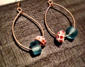 Shell and Sea glass hoops