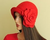 Red hat Felted hat with brooch Felt hat Cap felted Little Red Riding Hood Merino wool