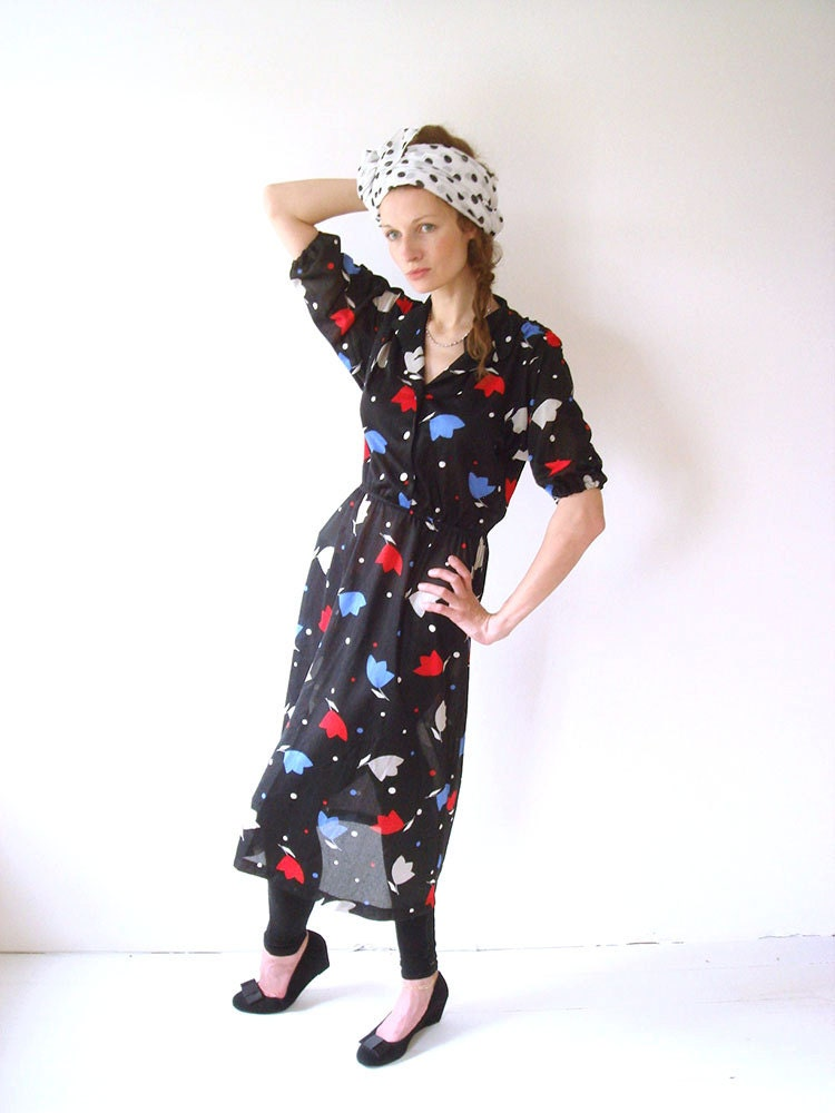 Black vintage dress Size M 80s fashion blue and by ...