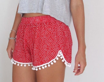 Christmas Pom Pom Shorts - Red and White Polkadot Print - White Pom Poms