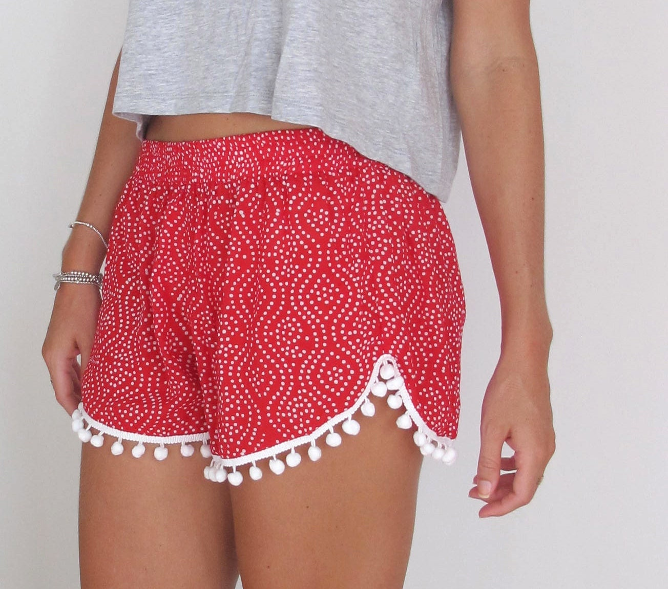 Christmas Pom Pom Shorts Red and White Polkadot Print