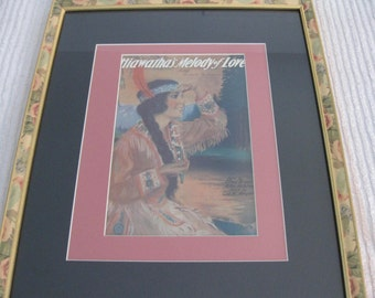 "1920 HIAWATHA MUSIC SHEET Framed And Matted ""Hiawatha Melody Of Love"" 17 1/2"" X 21 1/2"""