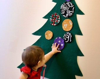 Felt Tree - Christmas Wall Activity for kids. Includes command hanging strips. Buy a craft, feed a baby.