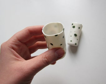 Shot glass x 2 , Set of two (2) green dotted porcelain shot glass