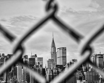 New York Photography - The Chrysler Building in the distance through a grid-iron fence 8x10 Photo, Manhattan, New York