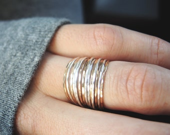 Set of 14 dainty teeny tiny stacking rings/ Ultra thin stacking rings/ Mixed metal / Everyday Jewelry
