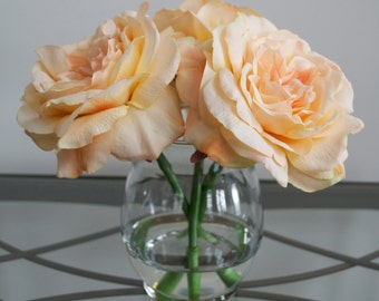 Peach Roses Flower Arrangement in Glass Vase with Faux Water, Acrylic Water, Silk Flowers, Orange Flowers, Easter Flowers, Summer Flowers
