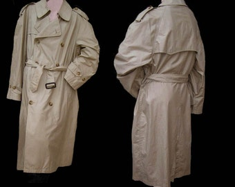 Vintage coat Trench Khaki 1980s 90s DB USA Khaki Outerwear Saville Row 40 S  light weight