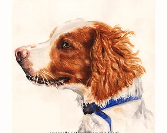 Brittany Spaniel Painting Hunting Dog Giclee Print on watercolor paper mounted on white or black mat ready  to slip into a standard frame