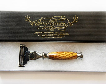 Mini handmade razor for Gillette Mach 3 in  Zebra wood. Ultimate shaving kit