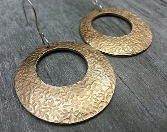 Bronze earrings, Flower earrings, Textured, Round, Hoop, Rustic, Nature
