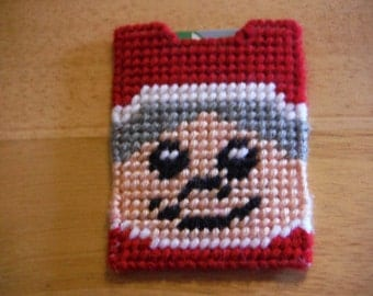 Plastic Canvas Gift Card Holder Mrs Claus, needlepoint item, Christmas gift, Business Card Holder,  fun money holder,  gift card cozy