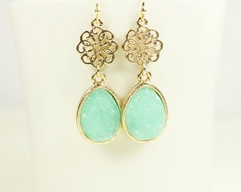 Gold Framed Mint Green Druzy Stone and Gold Filigree Pendant Earrings .