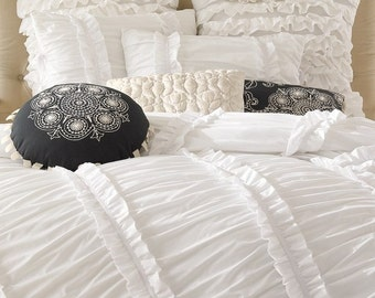 White Ruched Ruffled 3pcs Bedding Set Queen King