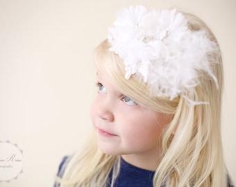 Flower Girl Headband, White, Christening, Baptism