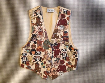 1990's, tapestry, teddy bear vest