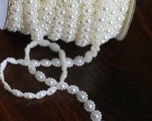 Sewing Trim Chains - WHITE or IVORY 10mm Flatback Round Sun Flower Pearl Garland