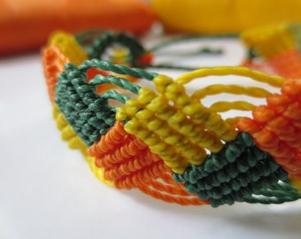 Orange Yellow Green Macrame Friendship Bracelet Handmade surf wristband
