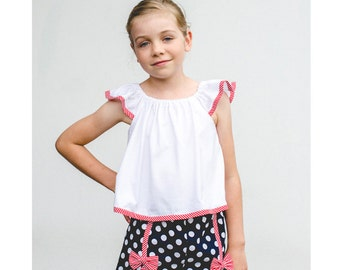 Girl's pdf shorts sewing pattern GIDGET SHORTS by Felicity Sewing Patterns, children's sewing pattern to fit 2-14 years.