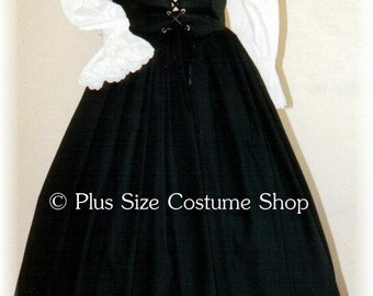 Gothic Black RENAISSANCE Gown Dress PLUS Size Halloween Costume Adult Womens Size 1X 2X 3X 4X 5X - 3 pcs New
