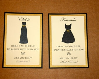 Will You Be My Bridesmaid Maid of Honor - Wedding Personalized Bridal Party Card