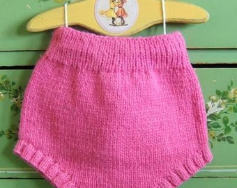 12 Month Pink  Hand Knit Wool Cloth Diaper Cover - Wool Soaker by Llamajama 1505.212.12M