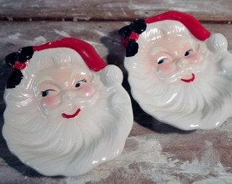 Vintage Ceramic Santa Wall Hanging, Candy Dish, Spoon Rest