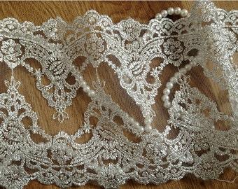 vintage lace trim in silver,silver mesh lace trim, bridal garter lace trim