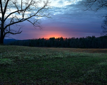 Sunset Photography - sun - Cade's Cove -  fine art photography -  8x12