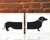 LIMITED EDITION Framed Metallic Gold Bow w Dachshund Wiener Doxie Dog Oversized Silhouette Print Custom Original Modern Decor Graphic Poster