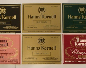Hanns Kornell Vintage Champagne and Wine Labels - Unused Set of 6 - Napa Valley 1980's.