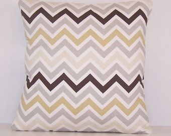 "PILLOW COVER Throw Fits 14"" 16"" 18"" 20"" 24 Euro Sham Lumbar Pillow Premier Prints Fabric River Rock Beige, Grey White Brown Zig Zag Chevron"