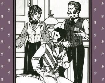 Folkwear Vintage Vests & Bow Tie - Victorian Style for Men, Women Sewing Pattern #222