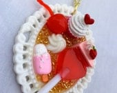 Kawaii Sweet food pendant. Kawaii Cupcake, Ice cream, lollipop pendant.