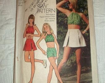 Vintage 70's Scooter Skirt Halter Top Shorts Pattern sz 14